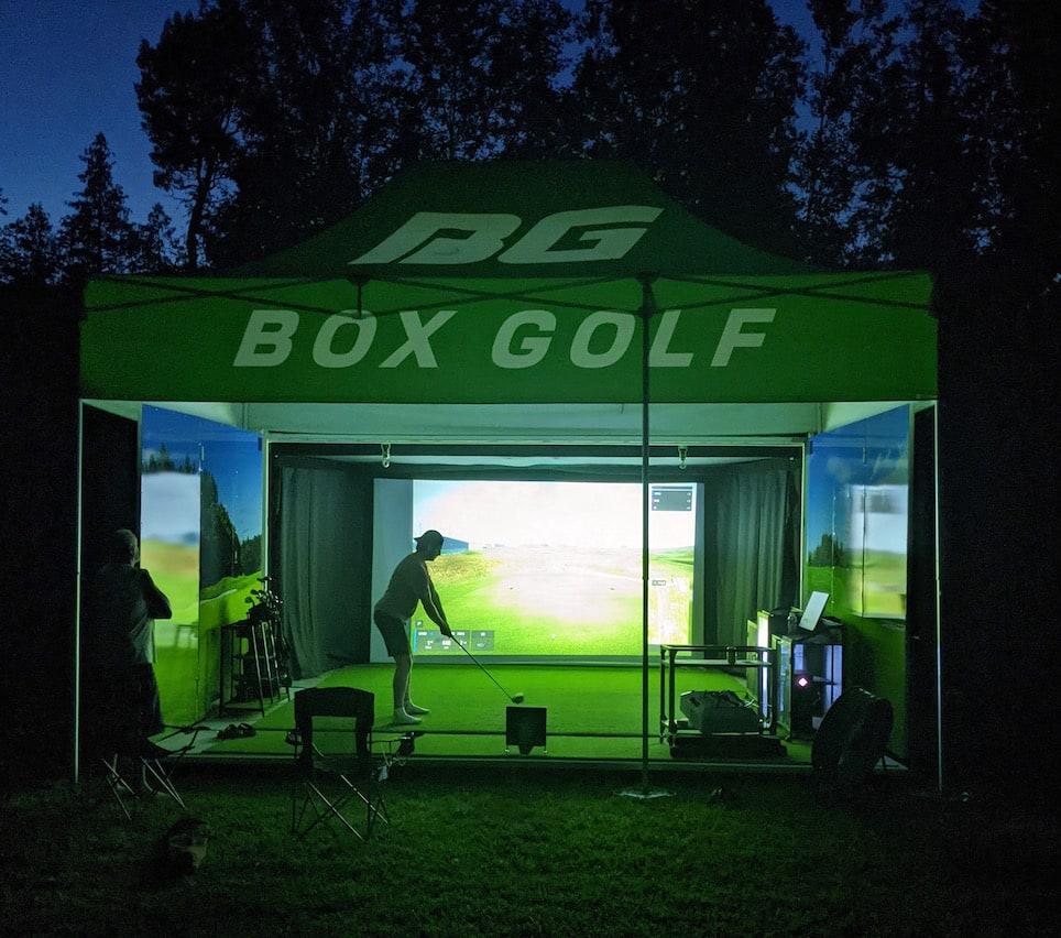 Box Golf Portable Golf Simulator - Golfing at Night